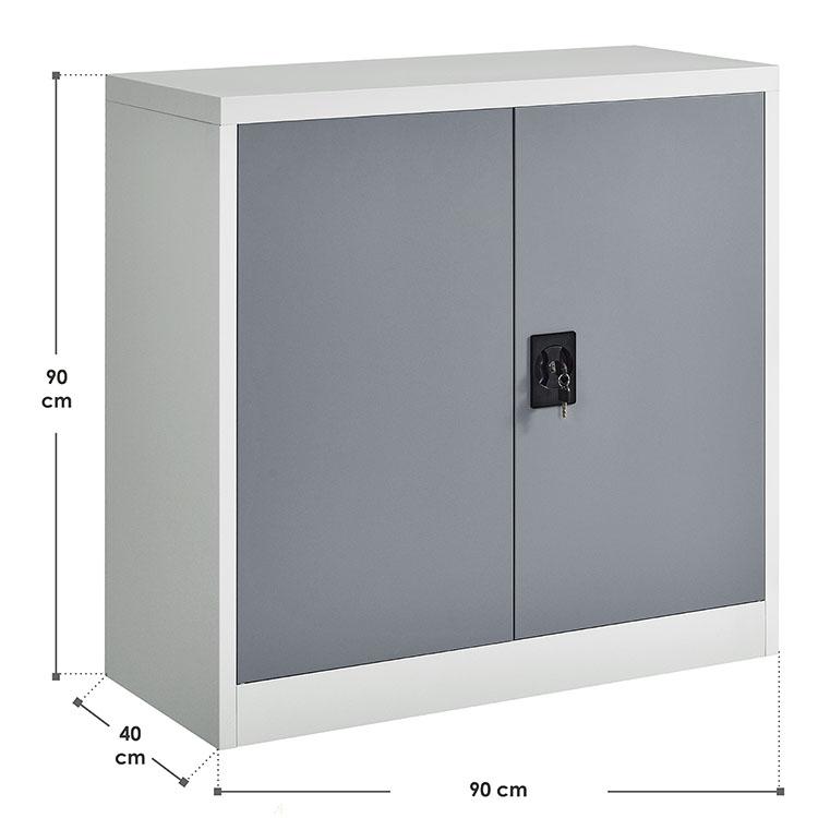 Abmessungen vom halbhohen Aktenschrank Office aus Metall - inkl. 2 Einlegeböden & verschließbaren Türen