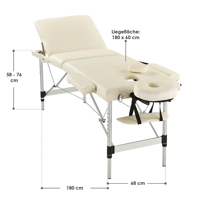 Abmessungen Massageliege Aluminiumgestell (beige) 180 x 60 cm