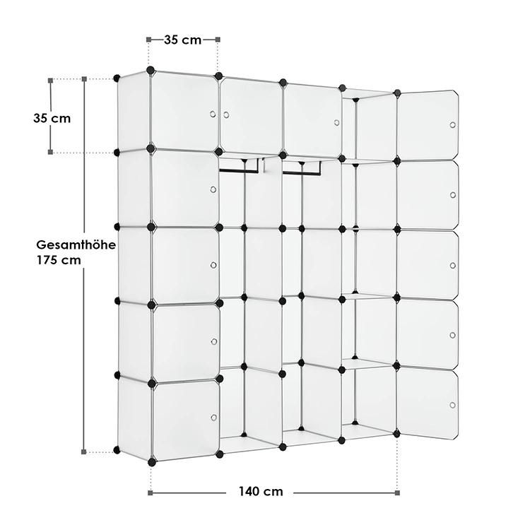 Abmessungen vom DIY-Garderobenschrank aus 20 Kunststoff-Boxen – weiß