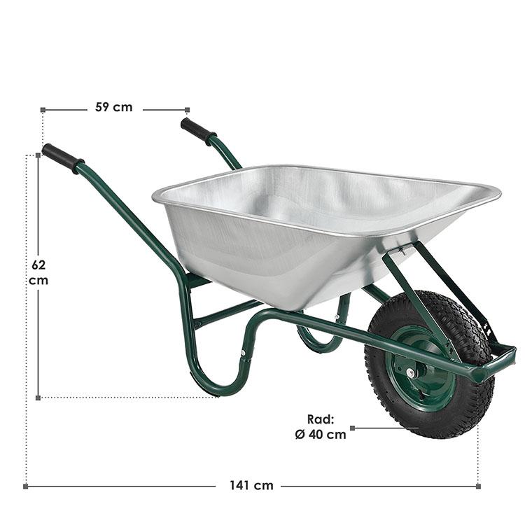 Abmessungen Metall Schubkarre Garden mit 100 Liter Muldenvolumen