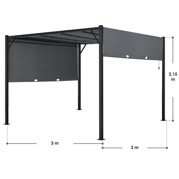 Pavillon Cavo 3 × 3 m grau mit Flachdach und LED Beleuchtung
