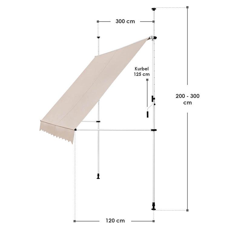 Abmessungen Klemmmarkise Kuwait 300x120 cm Beige