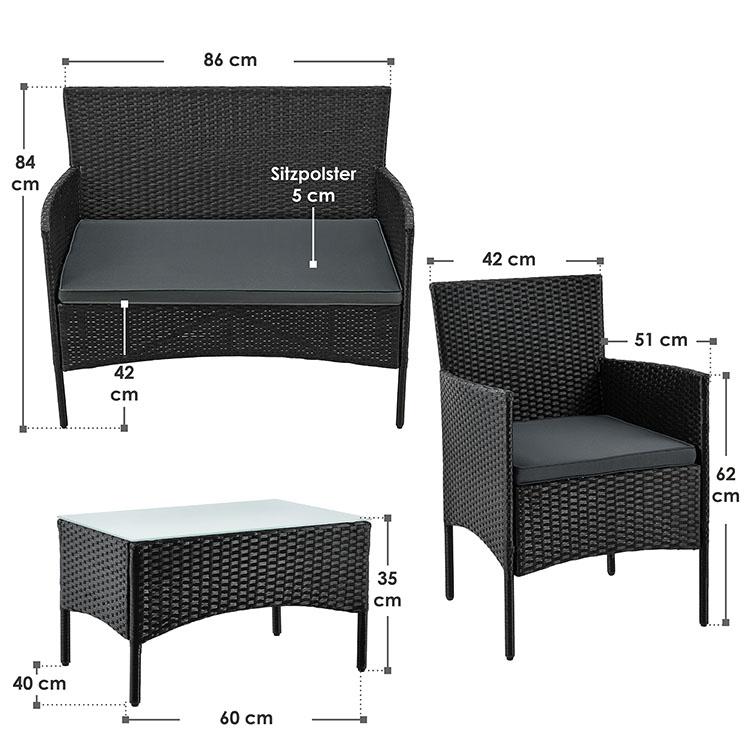 Abmessungsbild von der Polyrattan Sitzgruppe Fort Myers mit schwarzem Polyrattan Geflecht und  dunkelgrauen Bezügen – Gartengarnitur inklusive Sitzbank, Stühlen, Tisch mit Glasplatte