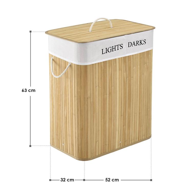 Abmessungen Bambus Wäschekorb Curly 100 Liter - natur