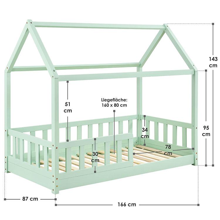 Abmessungen Kinderbett Marli 80 x 160 cm mint