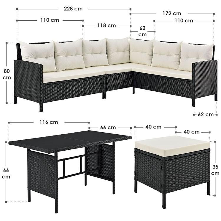 Abmessungen Polyrattan Ecklounge Set Manacor - 3 Elemente-Sofa mit Tisch und 2 Hockern