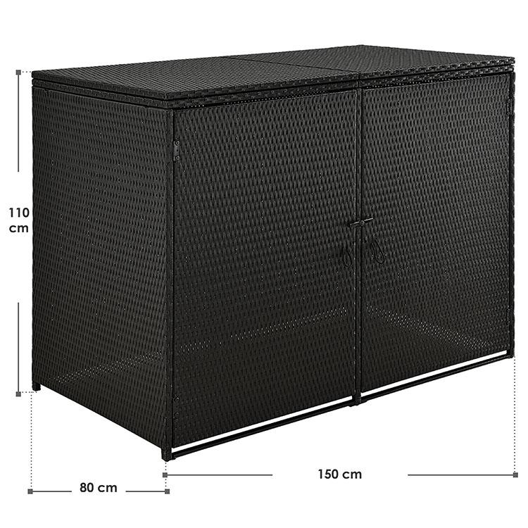 Abmessungen 2er Polyrattan Mülltonnebox - zwei mal 120L mit Deckeln und abschließbaren Türen