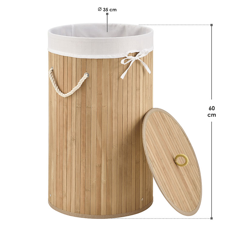Abmessungen Bambus Wäschekorb Curly-Round 55 L natur