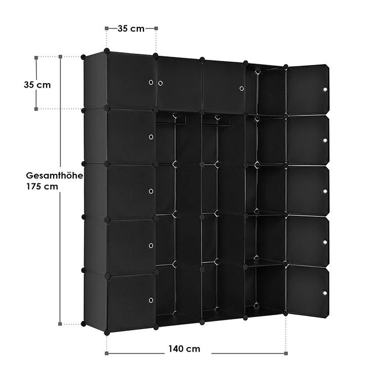 Abmessungen vom DIY-Garderobenschrank aus 20 Kunststoff-Boxen – schwarz