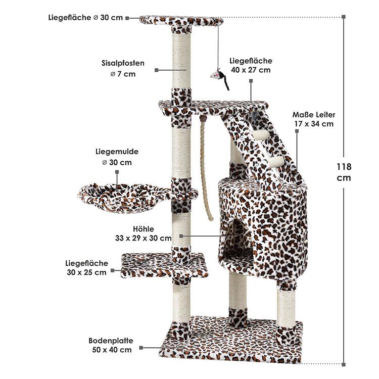 Kratzbaum Buffy leopard – Abmessungen vom Katzenkratzbaum