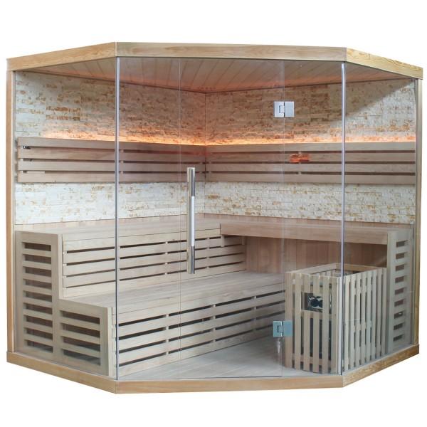 Traditionelle Saunakabine / Finnische Sauna Espoo 200 Naturstein 8 kW