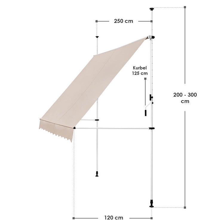 Abmessungen Klemmmarkise Kuwait 250x120 cm Beige