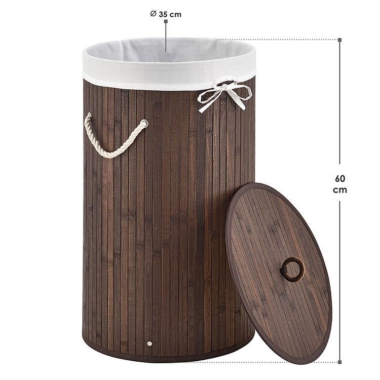 Abmessungen vom Bambus Wäschekorb Curly-Round braun