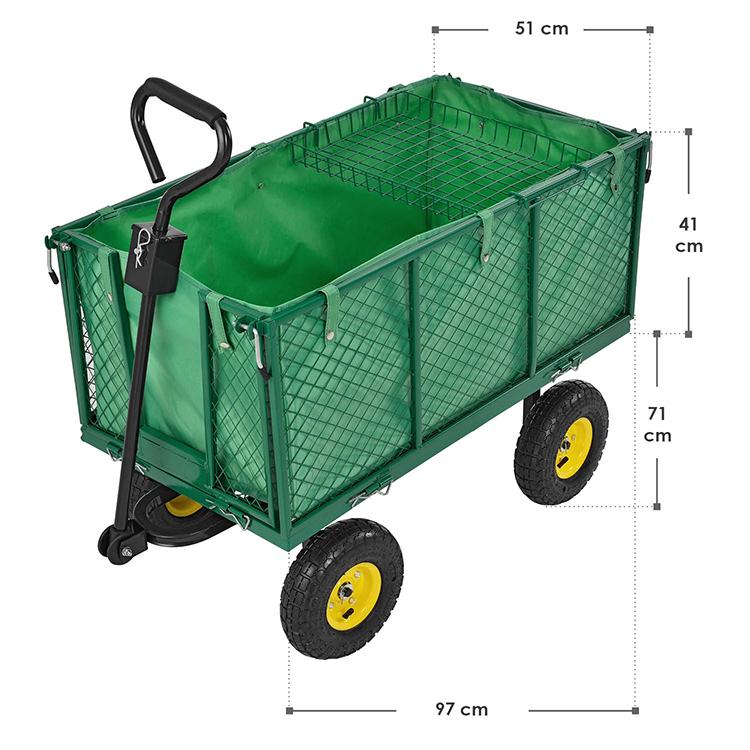 Metall Gartenwagen 550 kg mit herausnehmbarer Plane und Luftbereifung