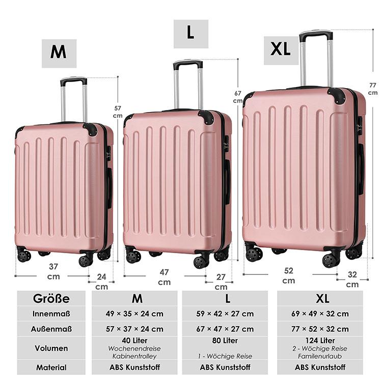 Abmessungen vom Hartschalen-Kofferset Yara - rosé