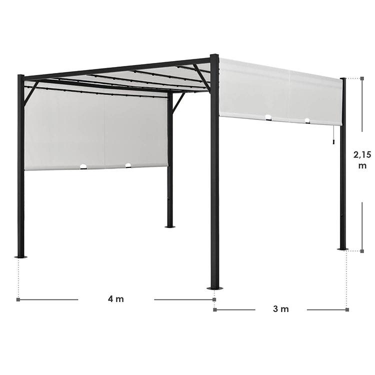 Pavillon Cavo 3 × 4 m creme mit Flachdach und LED Beleuchtung