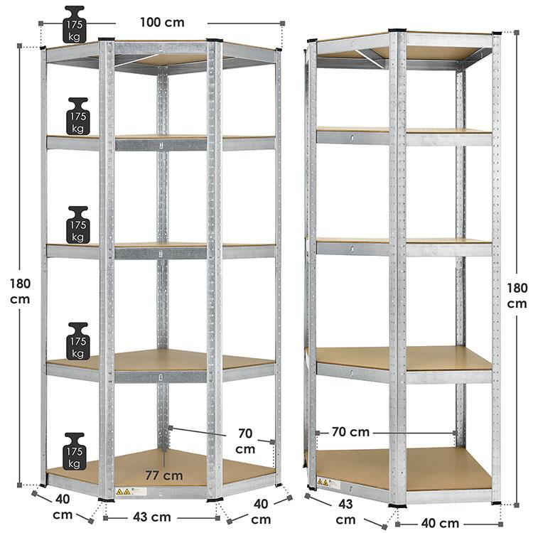 Abmessungsbild Lagerregal Corner Basic 180 x 70 x 40-70 cm mit 5 Böden und Stecksystem