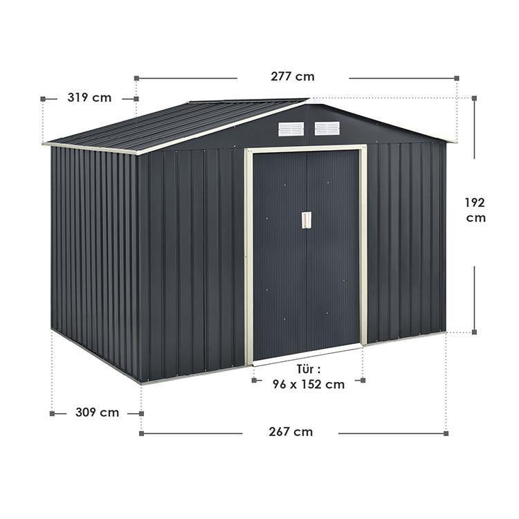 Abmessungen XXL Metall Gerätehaus mit Satteldach, Fundament und Schiebetüren in Anthrazit