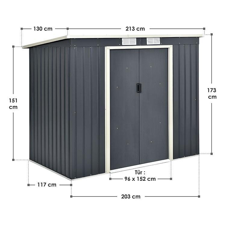 Abmessungen M-Metall-Gerätehaus mit Pultdach, Fundament und Schiebetüren in Anthrazit