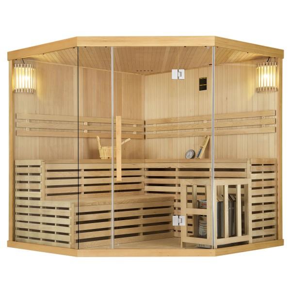 Traditionelle Saunakabine / Finnische Sauna Espoo200 Premium - 200 x 200 cm 8 kW