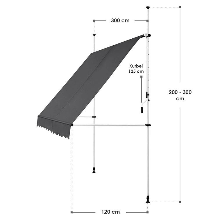Abmessungen Klemmmarkise Kuwait 300x120 cm Grau