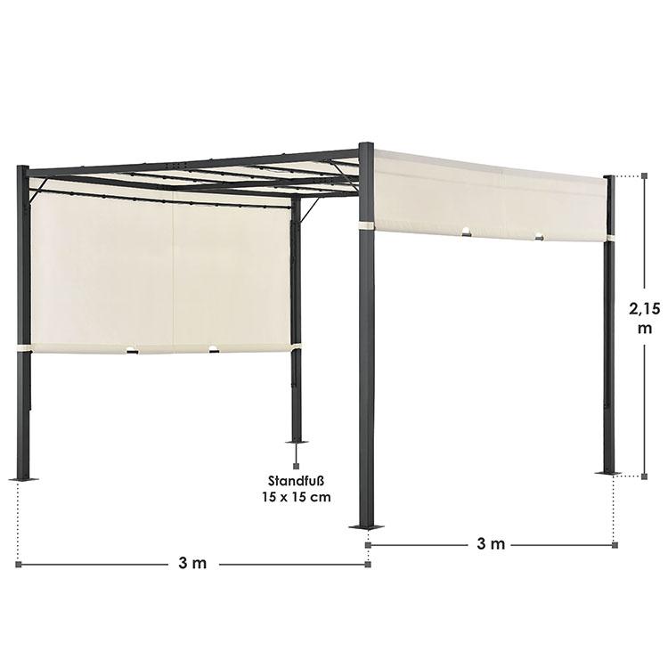 Abmessungen Abmessungsbild Pavillon Gartenzelt Cavo Pro 3 x 3 m mit Flachdach in creme