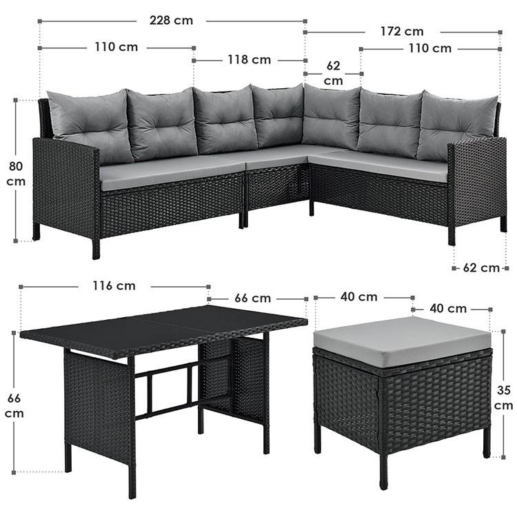 Abmessungen Polyrattan Lounge Set Manacor - 3 Elemente-Sofa mit Tisch und 2 Hockern schwarz grau