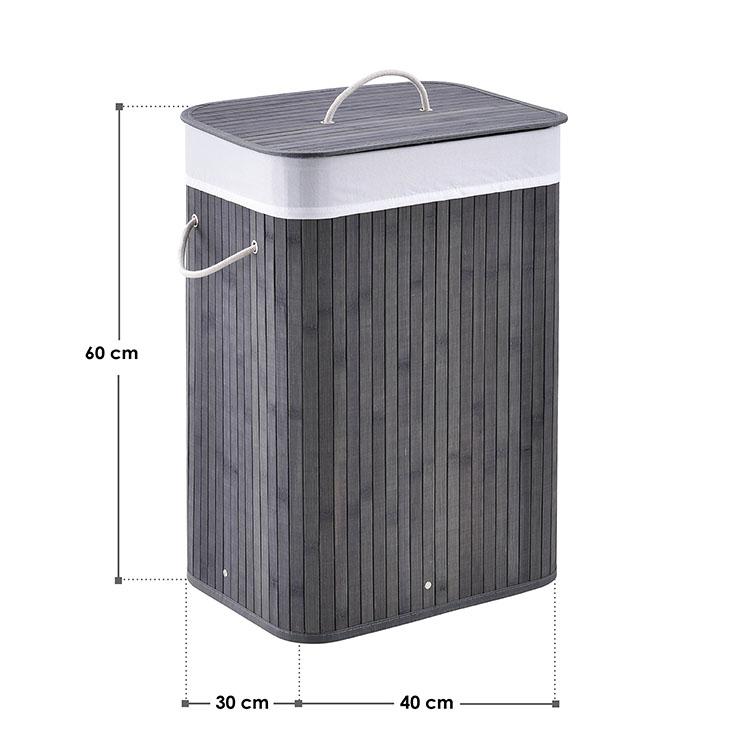 Abmessungsbild Bambus Wäschekorb Curly 72 Liter grau