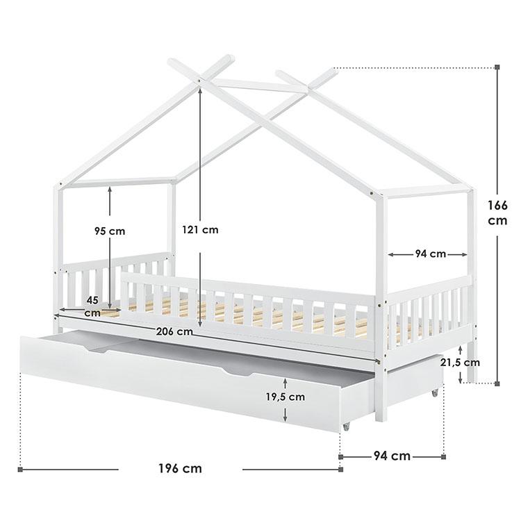 Abmessungen Kinderbett Tipi 90 x 200 cm weiß