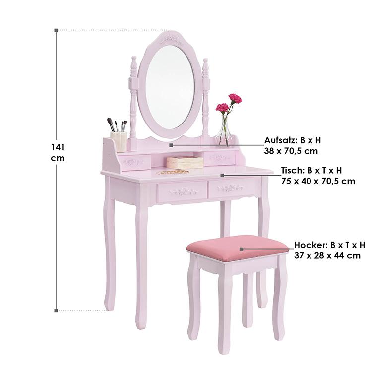 Abmessungen Schminktisch Mira mit Spiegel, Hocker und 4 Schubladen rosa