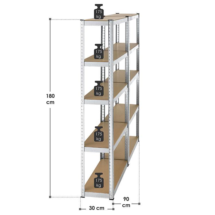 """Lagerregal """"Eco"""" im Set mit 10 Einlegeböden – Abmessungen vom Steckregal: 2 Schwerlasteregale á 180 x 90 x 30 cm"""