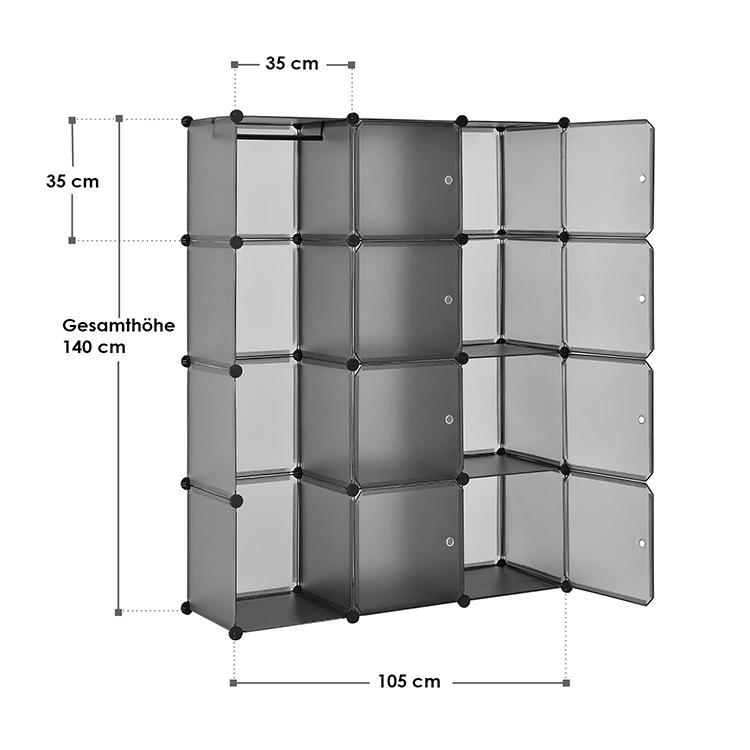 Abmessungen vom DIY-Garderobenschrank aus 12 Kunststoff-Boxen – dunkelgrau