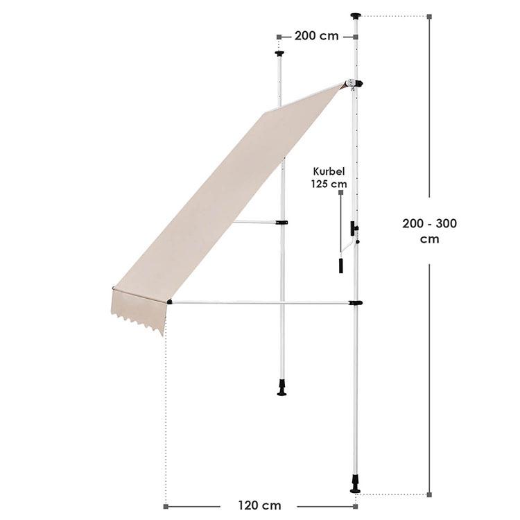 Abmessungen Klemmmarkise Kuwait 200x120 cm beige