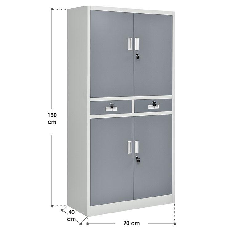 Abmessungen vom 2-farbigen Aktenschrank Office aus Metall - inkl. 2 Schubladen und 3 Einlegeböden