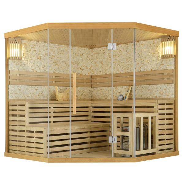 Traditionelle Saunakabine / Finnische Sauna Espoo200 mit Steinwand Premium - 200 x 200 cm 8 kW