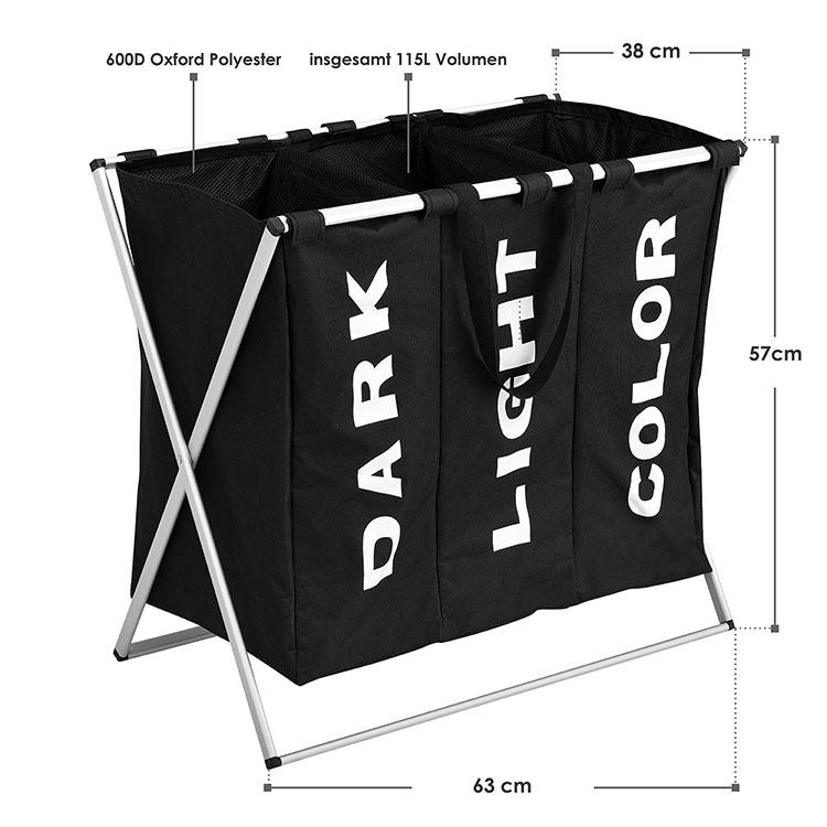 Abmessungen vom Wäschesammler W3S mit dreigeteiltem Wäschesack aus Polyester und Aluminiumgestell