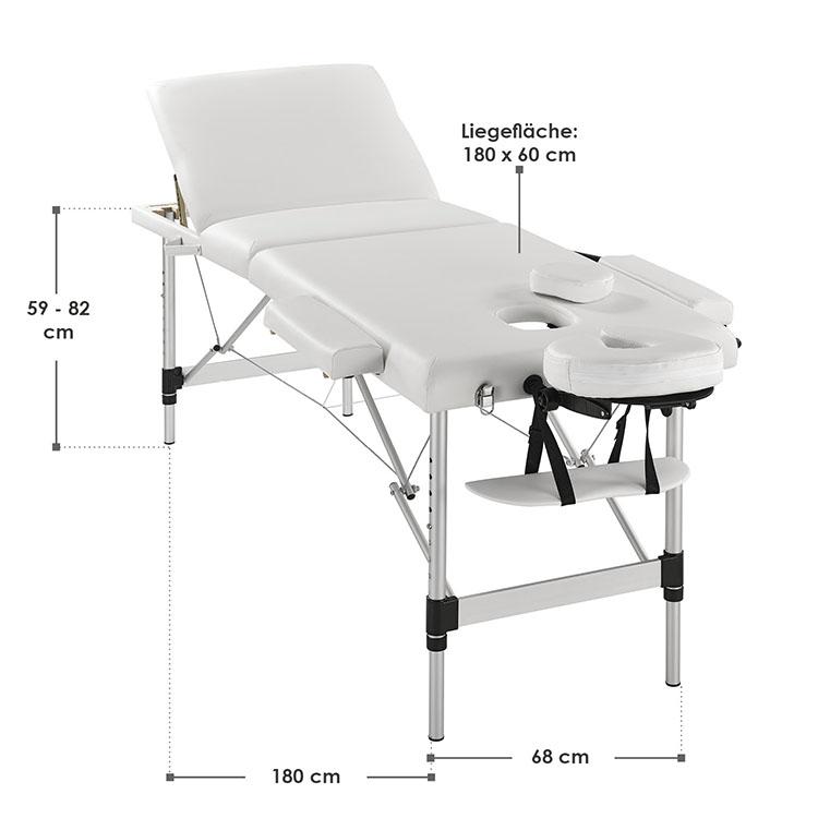Abmessungen Massageliege Aluminiumgestell (Weiß) 180 x 60 cm