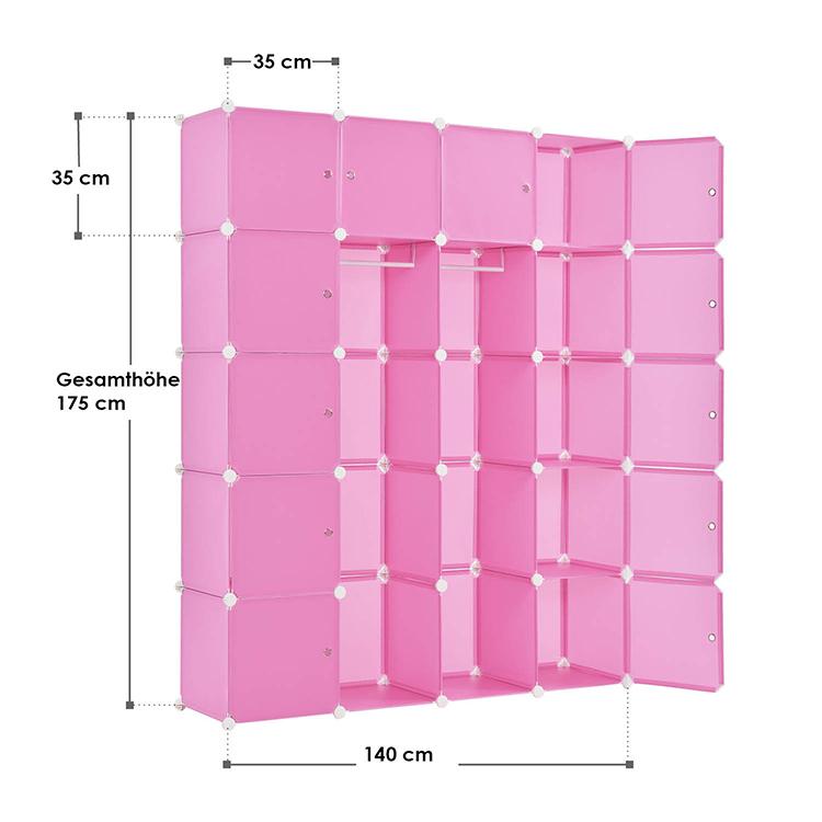 Abmessungen vom DIY-Garderobenschrank aus 20 Kunststoff-Boxen – pink