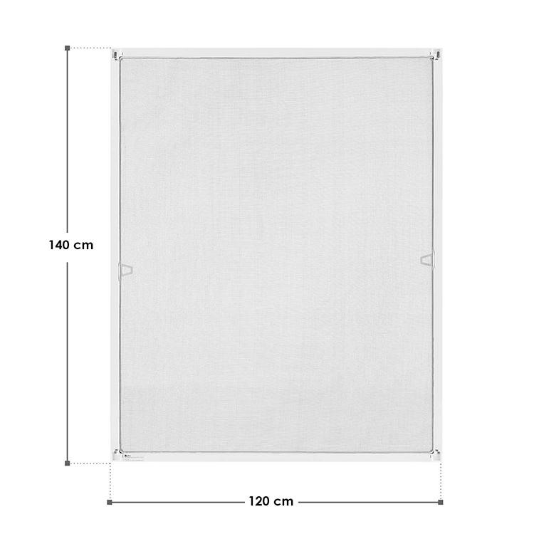 Abmessungsbild Fliegenschutzgitter mit Aluminiumrahmen 120x140 cm in weiß