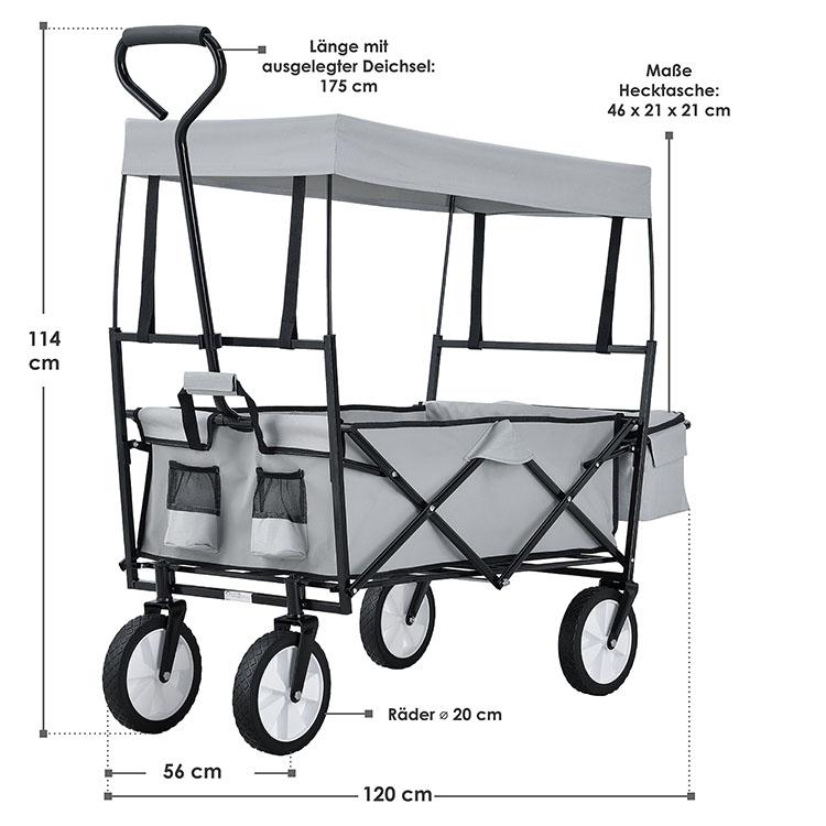 Abmessungen grauer Bollerwagen - faltbar, abnehmbares Dach, XXL-Tasche