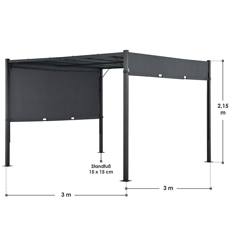Abmessungen Pavillon Gartenzelt Cavo Pro 3 x 3 m mit Flachdach in grau