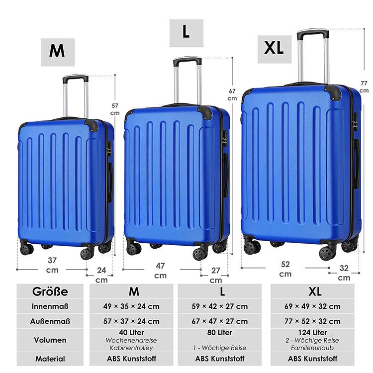 vom 3-teiligen Hartschalen-Kofferset Yara mit Teleskopgriffen, Rollen, Zahlenschloss und Tragegriffen blau