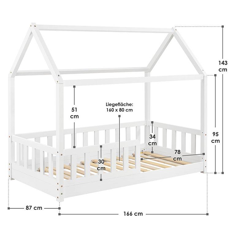 Abmessungen Kinderbett Marli 80 x 160 cm weiß