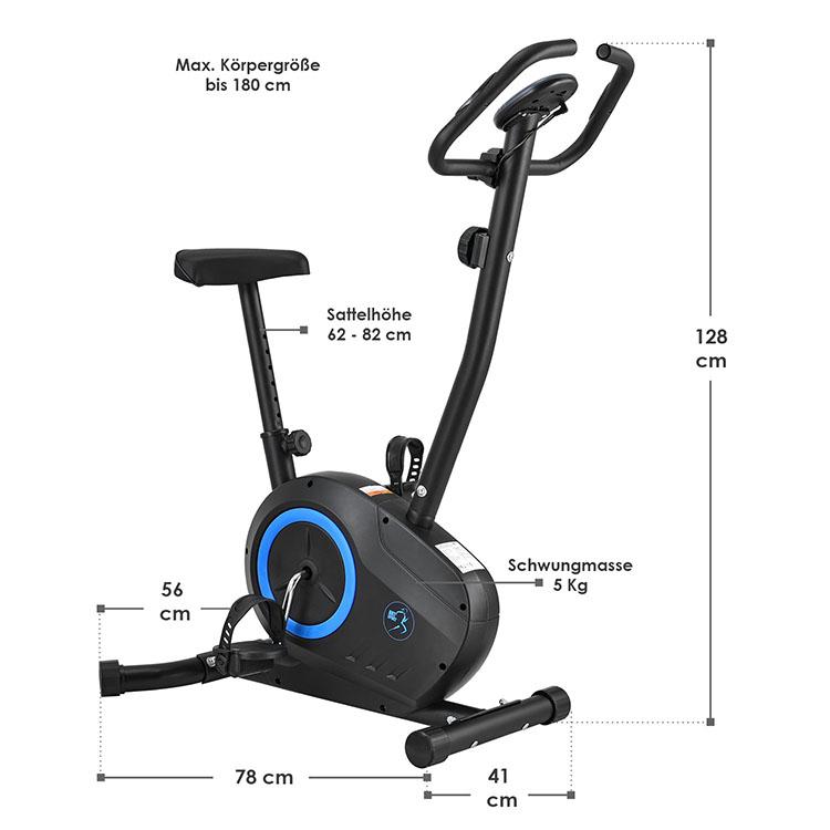 Abmessungsbild vom Ergometer Rapidero mit 5 kg Schwungmasse