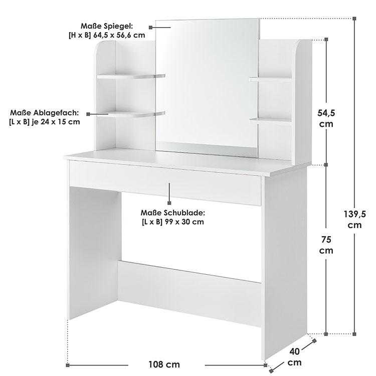 Abmessungen vom Schminktisch Bella weiß mit Spiegel, Schublade und 4 Ablagefächern von ArtLife