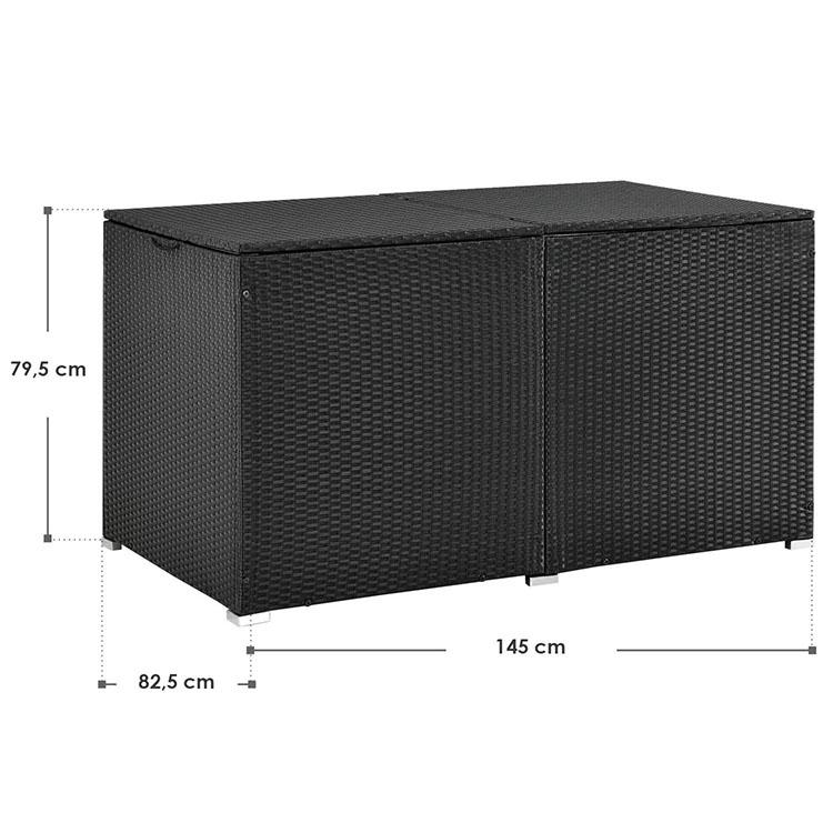 Abmessungen Polyrattan Auflagenbox Ikaria 950 Liter schwarz