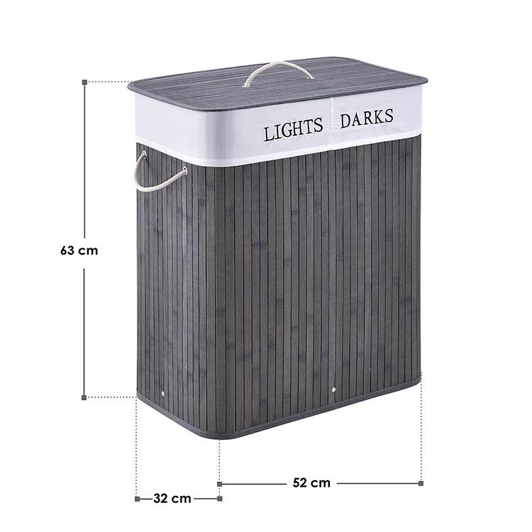 Abmessungen Bambus Wäschekorb Curly 100 Liter - grau