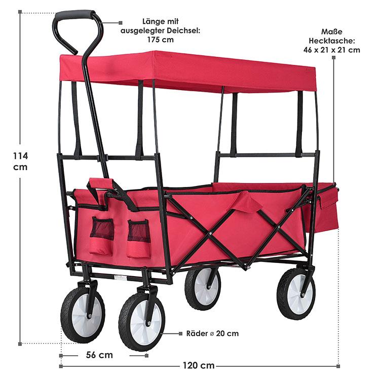 Abmessungen roter Bollerwagen - faltbar, abnehmbares Dach, XXL-Tasche