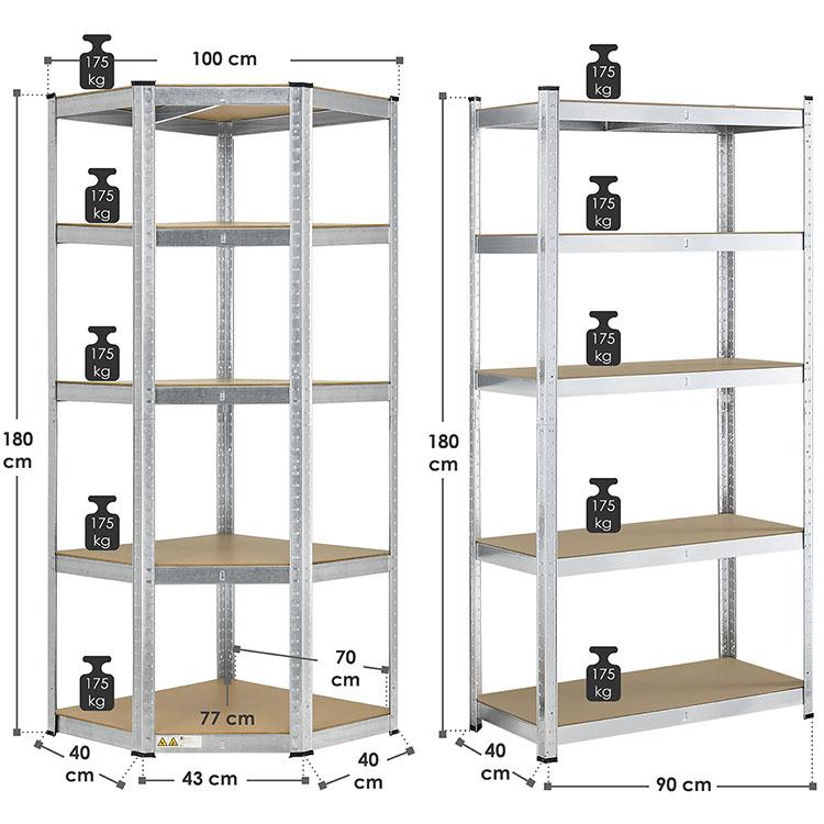 Abmessungen vom 3er Regalsystem - 1 Eckregal Corner und 2 Lagerregale Basic