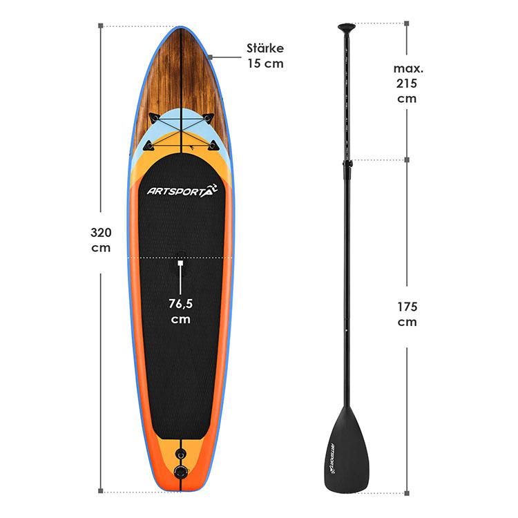 Abmessungen Stand Up Paddling Board Beach Rocker 320 x 76,5 cm